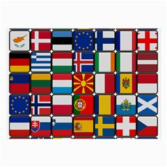 Europe Flag Star Button Blue Large Glasses Cloth (2-side) by Nexatart
