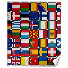 Europe Flag Star Button Blue Canvas 11  X 14   by Nexatart