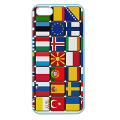 Europe Flag Star Button Blue Apple Seamless Iphone 5 Case (color) by Nexatart
