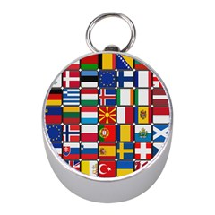 Europe Flag Star Button Blue Mini Silver Compasses by Nexatart