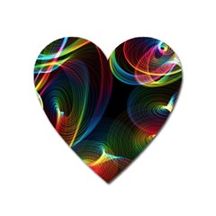 Abstract Rainbow Twirls Heart Magnet
