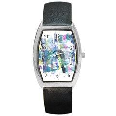 Background Color Circle Pattern Barrel Style Metal Watch by Nexatart