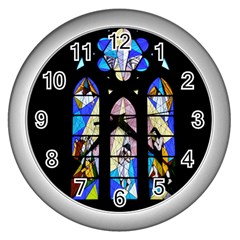 Art Church Window Wall Clocks (silver)  by Nexatart