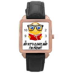 Geek Kid Rose Gold Leather Watch  by athenastemple