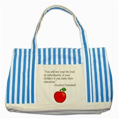 Fruit Of Education Striped Blue Tote Bag by athenastemple