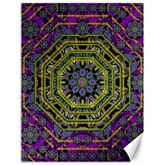 Wonderful Peace Flower Mandala Canvas 12  X 16   by pepitasart