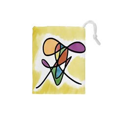 Art Abstract Exhibition Colours Drawstring Pouches (small)  by Nexatart
