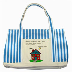 No School Greater    Striped Blue Tote Bag by athenastemple
