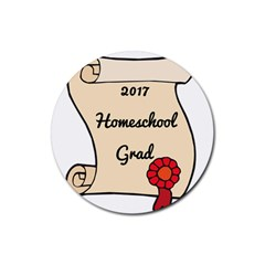2017 Homeschool Grad! Rubber Round Coaster (4 Pack)  by athenastemple