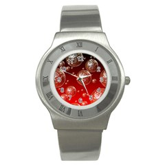Background Red Blow Balls Deco Stainless Steel Watch