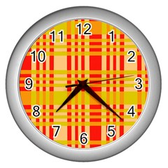 Check Pattern Wall Clocks (silver)  by Nexatart