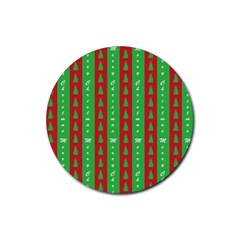 Christmas Tree Background Rubber Coaster (round)  by Nexatart