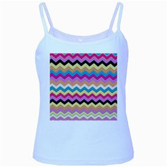 Chevrons Pattern Art Background Baby Blue Spaghetti Tank by Nexatart