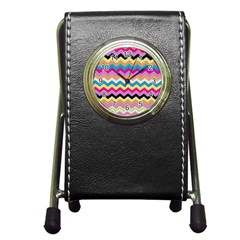 Chevrons Pattern Art Background Pen Holder Desk Clocks by Nexatart
