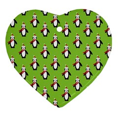 Christmas Penguin Penguins Cute Heart Ornament (two Sides) by Nexatart
