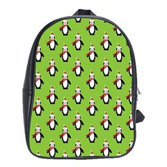 Christmas Penguin Penguins Cute School Bags (xl)  by Nexatart
