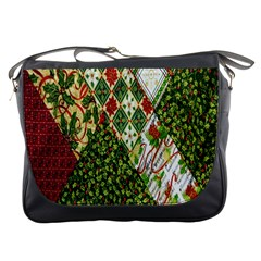 Christmas Quilt Background Messenger Bags by Nexatart