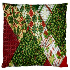 Christmas Quilt Background Large Cushion Case (one Side) by Nexatart