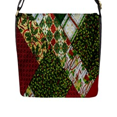 Christmas Quilt Background Flap Messenger Bag (l)
