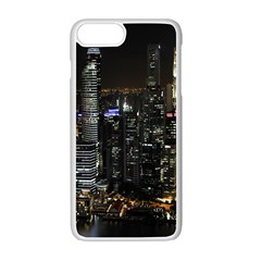 City At Night Lights Skyline Apple Iphone 7 Plus White Seamless Case by Nexatart