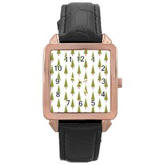 Christmas Tree Rose Gold Leather Watch  by Nexatart