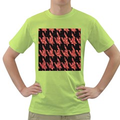 Dogstooth Pattern Closeup Green T Shirt by Nexatart