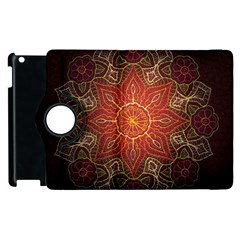 Floral Kaleidoscope Apple Ipad 2 Flip 360 Case by Nexatart