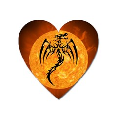 Dragon Fire Monster Creature Heart Magnet by Nexatart