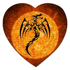 Dragon Fire Monster Creature Jigsaw Puzzle (heart)