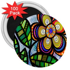 Folk Art Flower 3  Magnets (100 Pack) by Nexatart