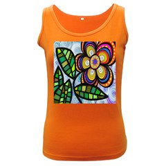 Folk Art Flower Women s Dark Tank Top by Nexatart