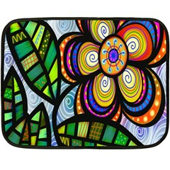 Folk Art Flower Double Sided Fleece Blanket (mini)  by Nexatart