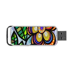 Folk Art Flower Portable Usb Flash (two Sides) by Nexatart