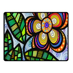 Folk Art Flower Double Sided Fleece Blanket (small)  by Nexatart