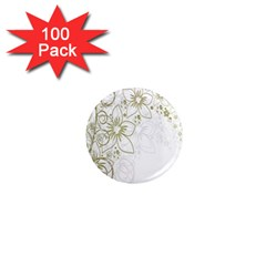 Flowers Background Leaf Leaves 1  Mini Magnets (100 Pack)