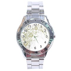 Flowers Background Leaf Leaves Stainless Steel Analogue Watch by Nexatart