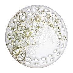 Flowers Background Leaf Leaves Round Filigree Ornament (two Sides)
