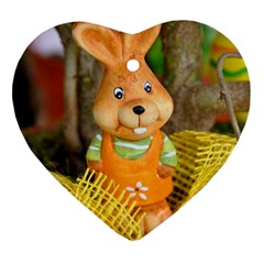 Easter Hare Easter Bunny Heart Ornament (two Sides) by Nexatart