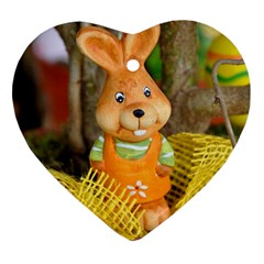Easter Hare Easter Bunny Ornament (heart) by Nexatart