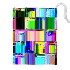 Glitch Art Abstract Drawstring Pouches (xxl)