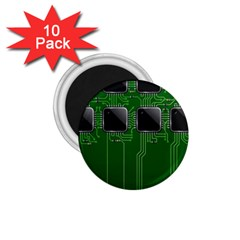 Green Circuit Board Pattern 1 75  Magnets (10 Pack)