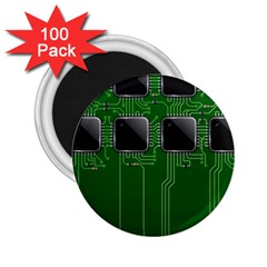 Green Circuit Board Pattern 2 25  Magnets (100 Pack)  by Nexatart