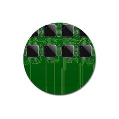 Green Circuit Board Pattern Magnet 3  (round) by Nexatart
