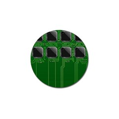 Green Circuit Board Pattern Golf Ball Marker by Nexatart