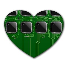 Green Circuit Board Pattern Heart Mousepads by Nexatart