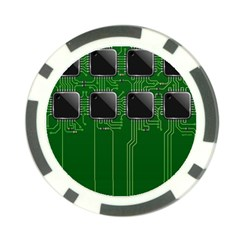 Green Circuit Board Pattern Poker Chip Card Guard (10 Pack) by Nexatart