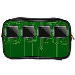 Green Circuit Board Pattern Toiletries Bags 2 Side by Nexatart