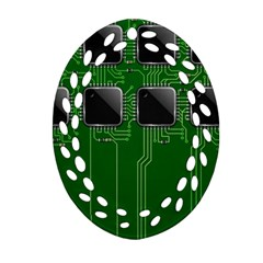 Green Circuit Board Pattern Oval Filigree Ornament (two Sides) by Nexatart