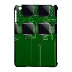 Green Circuit Board Pattern Apple Ipad Mini Hardshell Case (compatible With Smart Cover) by Nexatart