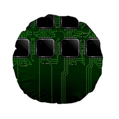 Green Circuit Board Pattern Standard 15  Premium Round Cushions